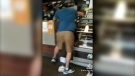 """Video posted online on July 27, 2021 purportedly shows a man knocking over equipment in a McDonald's restaurant. RCMP in Richmond, B.C., said they responded to a """"violent outburst"""" at a fast food location in the city that day, but could not confirm it was the same incident. (Credit: Instagram user @katerebelofficial)"""