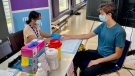 The UHN's Hepatitis C rapid screening pop-up, set up within the CAMH COVID-19 vaccine clinic. (Natalie Johnson)