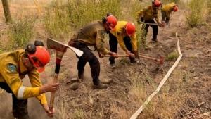 New Brunswick fire crews at a hose line in Lytton, B.C. (Courtesy: Matt Ruff / New Brunswick Natural Resources Department)
