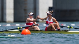 Canadian rowers Caileigh Filmer and Hillary Janssens compete in the Women's Pair semi-finals during the Tokyo 2020 Olympic Games on Wednesday, July 28, 2021. THE CANADIAN PRESS/HO, COC, Darren Calabrese
