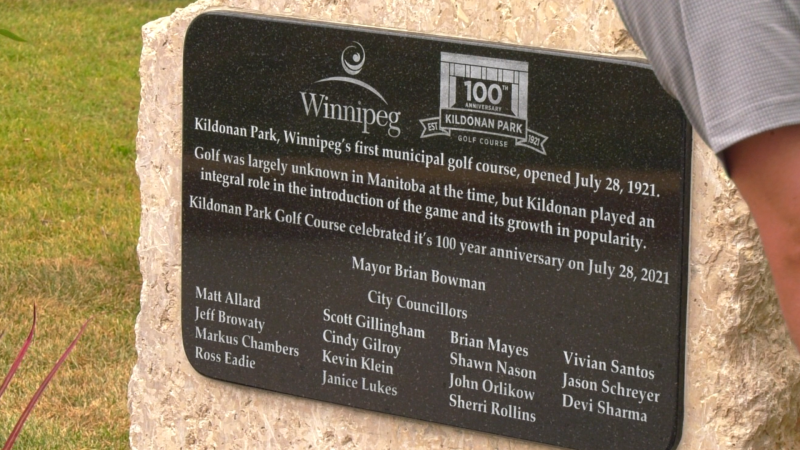A new plaque unveiled at the Kildonan Park Gold Course marking the 100 year anniversary of the course. July 28, 2021. (Source: Glenn Pismenny/CTV News)