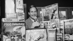 In this Wednesday, Dec. 8, 1982 file photo, Ron Popeil, the man behind those late-night, rapid-fire television commercials that sell everything from the Mr. Microphone to the Pocket Fisherman to the classic Veg-a-Matic, sits surrounded by his wares in his office in Beverly Hills, Calif. (AP Photo/Reed Saxon, File)