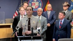 In this May 17, 2021, file photo Maricopa County Sheriff Paul Penzone and other elected officials from Maricopa County refute allegations of irregularities with the county's handling of the 2020 election, during a news conference in Phoenix. (AP Photo/Jonathan J. Cooper, File)