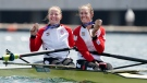 Canada's Caileigh Filmer and Hillary Janssens show off their bronze medals won in the women's pair rowing final event during the Tokyo Summer Olympic Games, July 29, 2021. THE CANADIAN PRESS/Nathan Denette