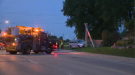 Crews work on the scene of a van that crashed into a hydro pole in Kitchener. (CTV Kitchener) (July 29, 2021)