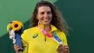 Australia's Jessica Fox holds the bronze medal during the ceremony for the Women's K1 of the Canoe Slalom at the 2020 Summer Olympics, July 27, 2021, in Tokyo, Japan. (AP Photo/Kirsty Wigglesworth)