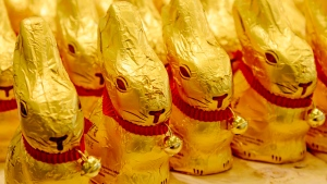 FILE - In this March 14, 20215 file photo chocolate Easter bunnies of Lindt stand in a supermarket in Freiburg, Germany. (Winfried Rothermel/dpa via AP, file)
