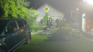 Fire crews tear down equipment after battling a shed fire in Clearview Township on Wed., July 28, 2021 (Courtesy: Clearview Fire Chief Roree Payment)