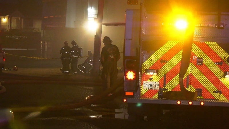 Fire crews battled a blaze at a Chilliwack apartment building on July 29, 2021.