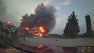 Shed destroyed by fire in Clearview Township