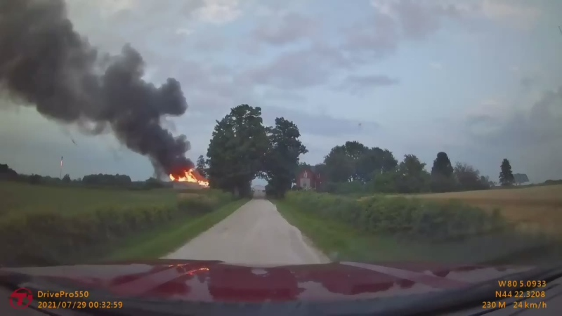 Tractor catches fire, destroys a shed in Clearview