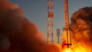 A Proton-M booster rocket carrying the Nauka module blasts off from the launch pad at Russia's space facility in Baikonur, Kazakhstan, July 21, 2021. (Roscosmos Space Agency Press Service photo via AP)