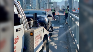 Vancouver police say an Uber driver was ticketed and had their vehicle impounded after they were caught speeding on the Granville Street Bridge. (Sgt. Mark Christensen/Twitter)