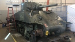 The famous Holy Roller, one of two Canadian Sherman tanks to survive World War II, is getting a makeover at Fanshawe College's Centre for Applied Transportation Technology, Thursday, July 29, 2021. (Jordyn Read/CTV News)