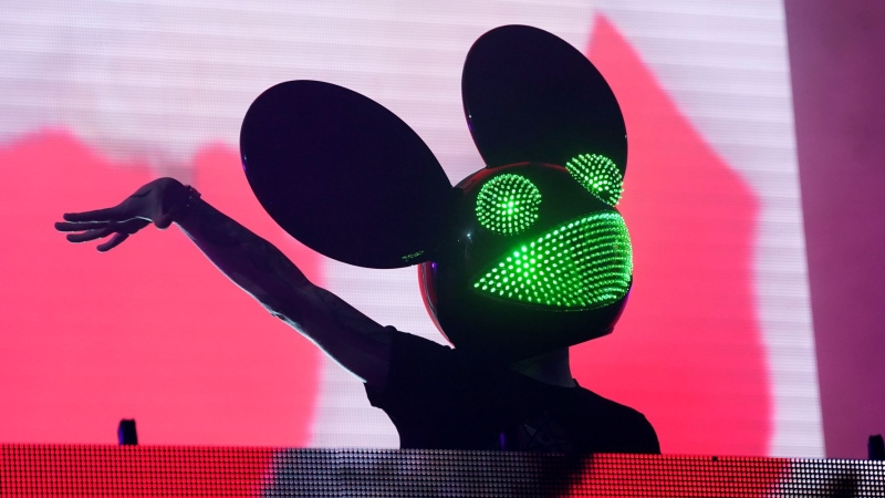 Electronic music producer Deadmau5 performs at SoFi Stadium, Saturday, July 17, 2021, in Los Angeles. (AP Photo/Chris Pizzello)
