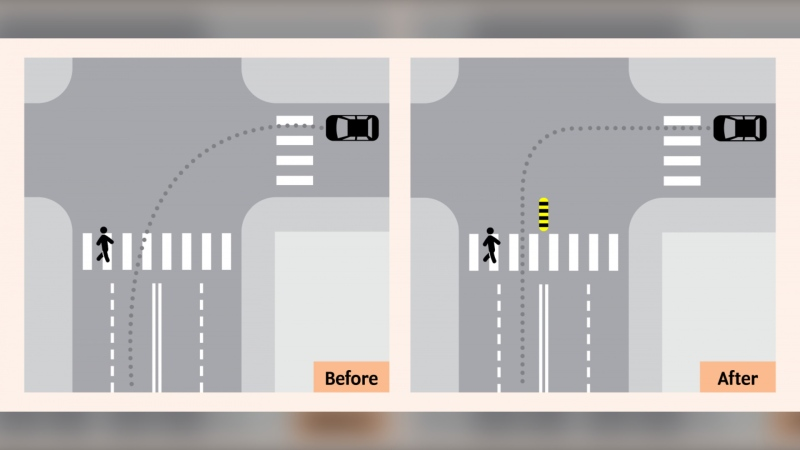This before and after image provided by the City of Toronto shows a new traffic calming pilot project.