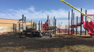 The Saskatchewan Rivers Public School Division says it is assessing damage to a playground at Ecole Vickers Public School. (Lisa Risom/CTV News)