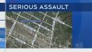 Suspect sought following group assault