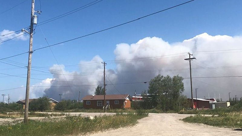 Smoke from a wildfire in the Bloodvein First Nation in Manitoba on July 28, 2021. (Source: Frank Young Sr./ Facebook)