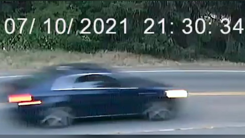 Investigators are circulating a photo of the suspect vehicle taken as the car turned onto Victoria Avenue from 102nd Street. (RCMP)