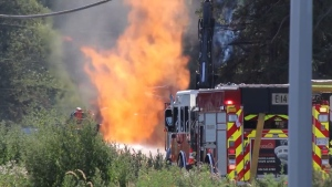 A gas line ruptured in Surrey on July 29, 2021.