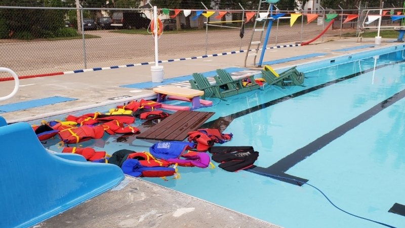 Indian Head RCMP are looking for those responsible for a mess at the outdoor swimming pool. (Supplied: Indian Head RCMP)