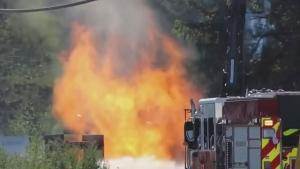 Ruptured gas line shoots fireball in Surrey