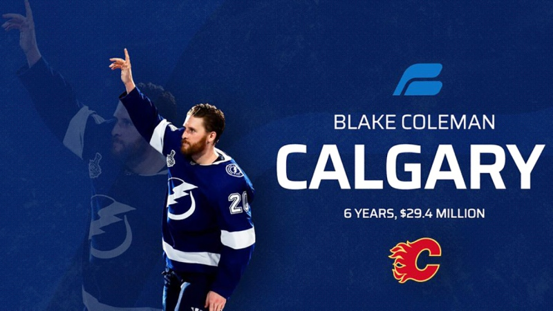 Right winger Blake Coleman won 2 Stanley Cups with Tampa Lightning. Tuesday, he signed a six year, $29.4 million contract with the Calgary Flames