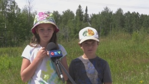 Elizabeth, 8, and her brother Joseph, 6, in Timmins are the Rastall Mine Supply's volunteer of the month. (CTV Northern Ontario)