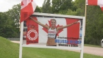 A sign showing support for Eganville, Ont.'s Melissa Bishop-Nriagu, who is competing in the women's 800-metre race at the Summer Games in Tokyo. (Dylan Dyson / CTV News Ottawa)