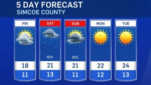 Five-day forecast for CTV Barrie: July 29