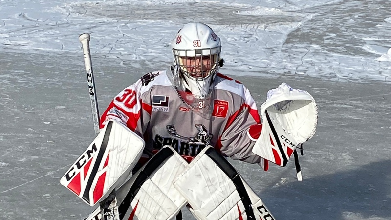 It's not all that common for kids from the relatively small city of Lethbridge to make the team, let alone two good buddies in the same year. Above, goalie Oliver Skog.