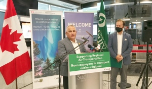 Nickel Belt MP Marc Serré and Sudbury MP Paul Lefebvre announced $3.5 million for the Sudbury Airport on Thursday. (Ian Campbell/CTV News)