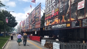 Ribbers are set up for Ribfest at Victoria Park in London, Ont. on Thursday, July 29, 2021. (Sean Irvine / CTV News)