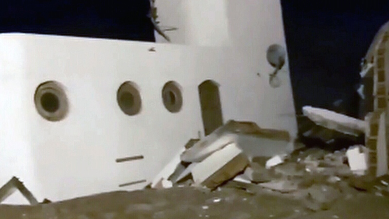 Beachfront house collapses into sea in Argentina