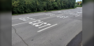 The City of Ottawa says incorrect pavement markings on Isabella Street will be fixed on Thursday. (Aaron Reid/CTV News Ottawa)