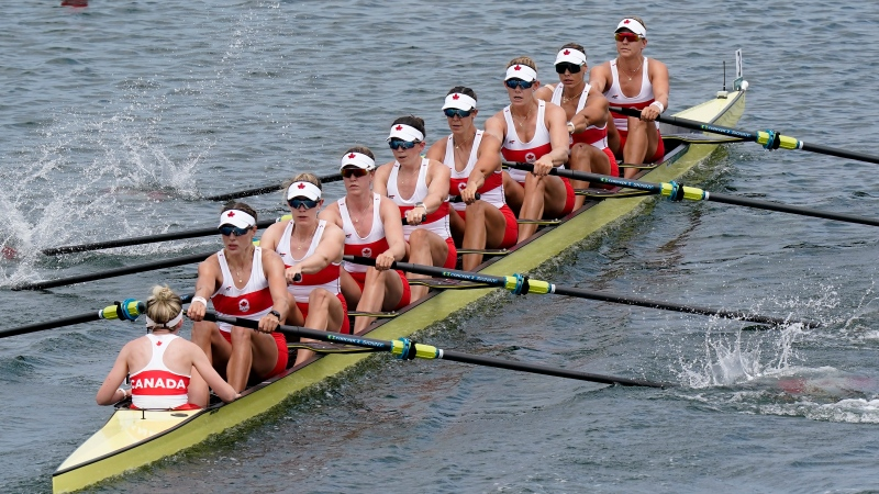 Canada's Lisa Roman, Kasia Gruchalla-Wesierski, Christine Roper, Andrea Proske, Susanne Grainger, Madison Mailey, Sydney Payne, Avalon Wasteneys and Kristen Kit compete in the women's eight rowing repechage round event during the Tokyo Summer Olympic Games, in Tokyo, Wednesday, July 28, 2021. THE CANADIAN PRESS/Adrian Wyld