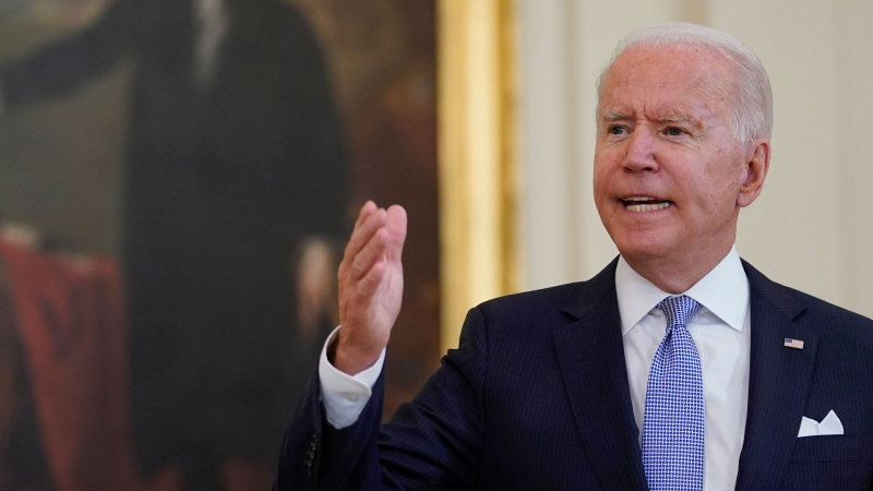 U.S. President Joe Biden answers a question from a reporter after he spoke about COVID-19 vaccine requirements for federal workers in the East Room of the White House in Washington, Thursday, July 29, 2021. (AP Photo/Susan Walsh)