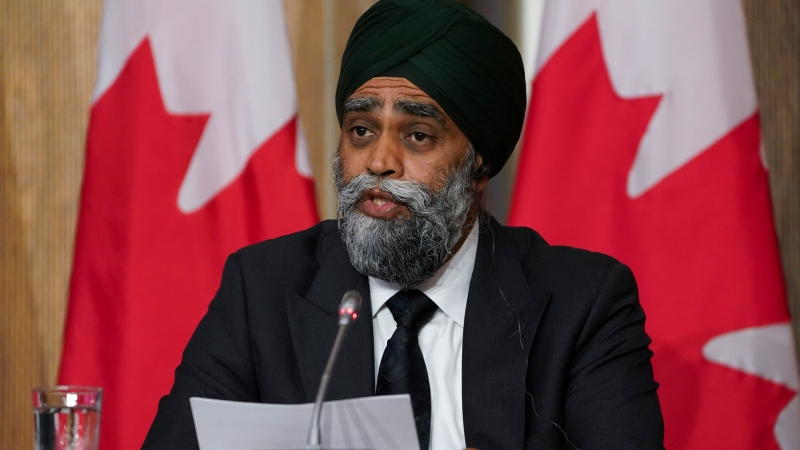 Harjit Sajjan, Minister of National Defence, speaks during press conference in Ottawa on Friday, July 23, 2021. THE CANADIAN PRESS/Sean Kilpatrick