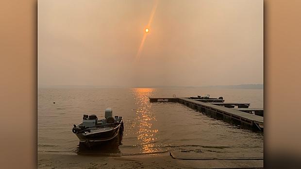 Smoke on Nutimik Lake. Photo by Tara Di Bartolo.