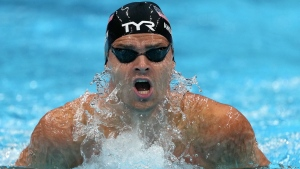 Michael Andrew of the United States swims in a men's 200-metre individual medley semi-final at the 2020 Summer Olympics, July 29, 2021, in Tokyo, Japan. (AP Photo/Matthias Schrader)