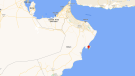 The attack Thursday night targeted Liberian-flagged oil tanker Mercer Street just northeast of the Omani island of Masirah, seen in this map. The location is over 300 kilometres southeast of Oman's capital, Muscat. (Google Maps)