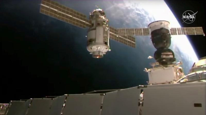 Nauka module approaches the International Space Station space station, on July 29, 2021. (NASA via AP)