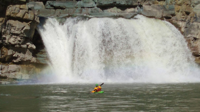 A kayaker had to be rescued from Leap of Faith Falls in Elko, B.C. (Fernie Search and Rescue/Facebook)