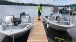OPP officers are searching Sparrow Lake in Gravenhurst, Ont., on Fri. July 30, 2021, for a missing canoeist. (Supplied)