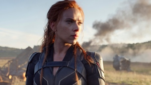 This image released by Disney/Marvel Studios' shows Scarlett Johansson in a scene from 'Black Widow.' Disney announced the film release date as July 9, 2021. (Marvel Studios/Disney via AP)
