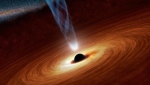 This artist's illustration shows a supermassive black hole. For the first time, scientists have been able to directly observe light bending from behind a black hole. (NASA/JPL-Caltech)