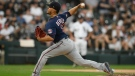 Minnesota Twins starter Jose Berrios delivers a pitch during the first inning of a baseball game against the Chicago White Sox, Monday, July 19, 2021, in Chicago. (AP Photo/Paul Beaty)