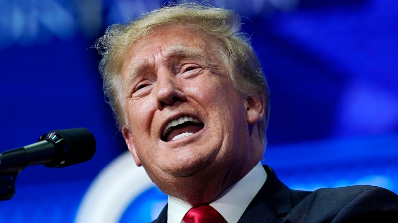 In this Saturday, July 24, 2021, file photo former U.S. President Donald Trump speaks on a variety of topics to supporters at a Turning Point Action gathering in Phoenix. (AP Photo/Ross D. Franklin, File)