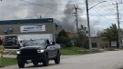 Smoke billows from a propane factory on Bayview Drive in Barrie on July 30. 2021 (Siobhan Morris/CTV News)